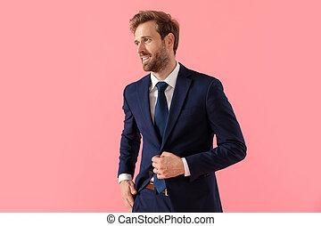 regarder loin, confiant, ajustement, veste, sien, homme affaires