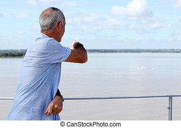 regarder, mûrir, ocean., homme