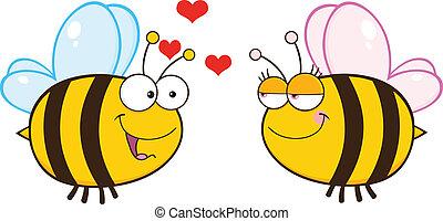 regarder, mignon, femme, abeille