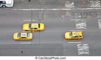 regarder, nyc, gens, scène, bas, rue, trafic, amérique, sur, manhattan
