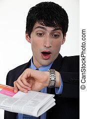 regarder, panicking, sien, montre, homme