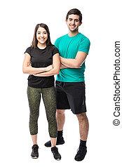 regarder, prêt, couple, bon, exercice
