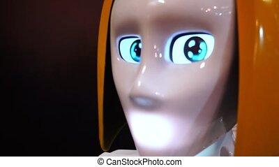 regarder, robot, appareil photo, femme
