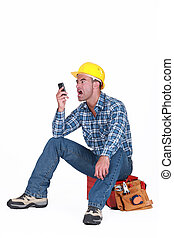 regarder, sien, fâché, téléphone portable, artisan