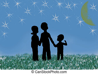 regarder, silhouettes, ciel, enfants