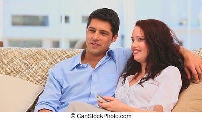 regarder, sofa, tv, couple