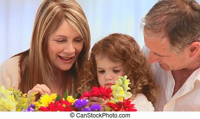 regarder, tas, famille, fleurs