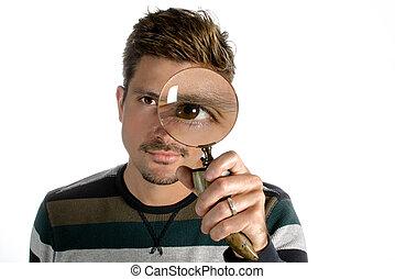 regarder verre, par, magnifier, homme