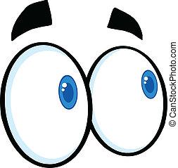 regarder, yeux, dessin animé