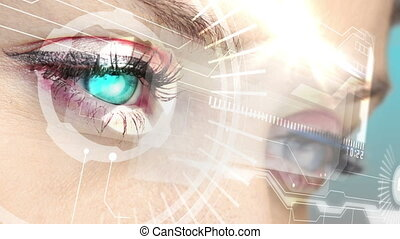 regarder, yeux, holographic