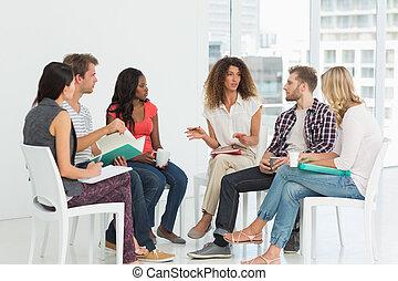 rehab, groupe, parler, thérapeute