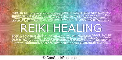 reiki, arc-en-ciel, bannière, associé, guérison, mots