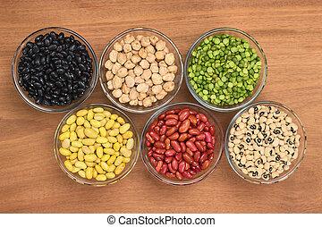 rein, peas), oeil beurre noir, légumineuses, haricots, bois, au-dessus, fente, photographié, pois, variété, haricots, pois chiches, (black, verre, canari, bol