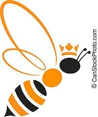 reine, couronne, isolé, jaune, abeille, black., geometric., icône