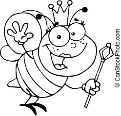 reine, esquissé, abeille