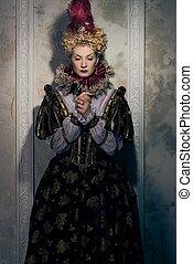 reine, hautain, robe, royal