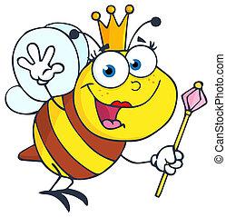 reine, salutation, onduler, abeille