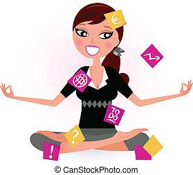 relâcher, vecteur, occupé, femme, yoga, position., illustration, retro, notes, essayer