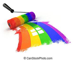 relations, homosexuel, amour, gay, lgbt, maison, concept., community., couleurs, fierté, ou