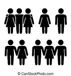 relations, seul, vecteur, humain, trio, combination., sexuel, icônes, set., couple