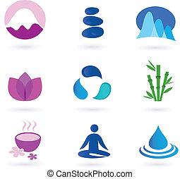 relaxation, icône, wellness, yoga