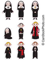 religieuse, prêtre, ensemble, dessin animé, icône
