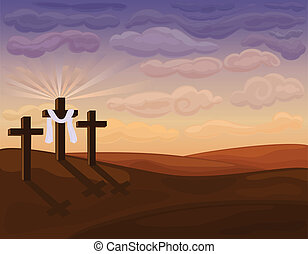 religieux, collines, paques, -, golgotha
