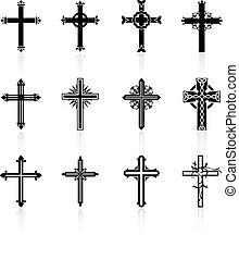 religieux, conception, croix, collection