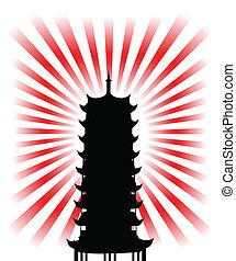 religieux, silhouette, but, japonaise