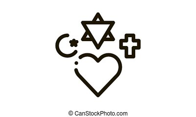 religieux, tolérance, icône, animation