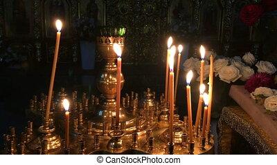 religion, church., vue, cire, bougies, close-up., beaucoup, concept, brûlé, catholique, orthodoxe, ou, foi, cathédrale, autel, sombre