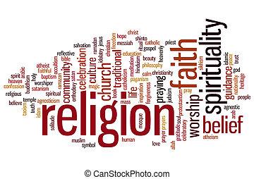 religion, mot, nuage