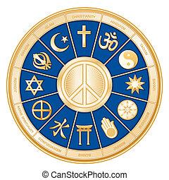 religions, paix, mondiale, symbole