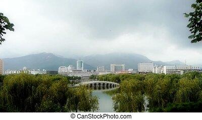 rely, hills., lac, arc pont, ville, lointain, saules, park.