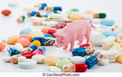 remède, porcs, grippe