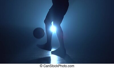 rembourrage, balle, football, pieds, joueur, twilight.