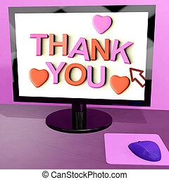 remercier, écran, message, appréciation, informatique, ligne, vous, projection