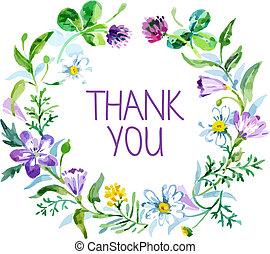 remercier, bouquet., illustration, aquarelle, vecteur, floral, vous, carte