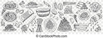 remettre ensemble, pâtes, dessiné, doodles