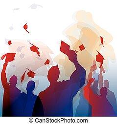 remise de diplomes, silhouette