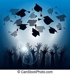 remise de diplomes, silhouettes, célébration