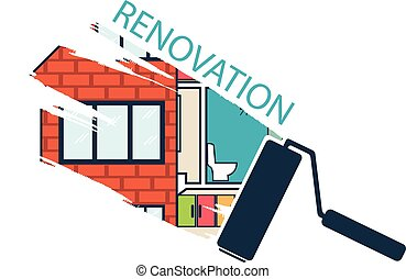 remodeler, .house, rénovation, .vector, conception, plat