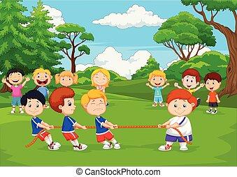 remorqueur, jouer, groupe, guerre, dessin animé, parc, enfants