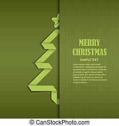 remplié, arbre, plié, papier, vert, gabarit, noël carte
