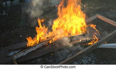 remplir, brûlures, tas, brûler