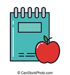 remplir, style, pomme, icône, cahier, ligne
