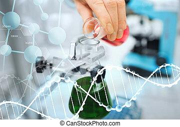 remplissage, eprouvettes, grand plan, scientifique, laboratoire