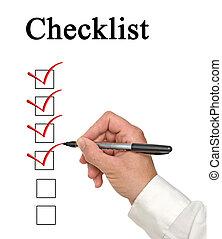 remplissage, liste, chèque, homme