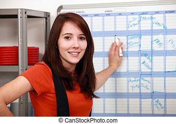 remplissage, ouvrier, usine, horaire