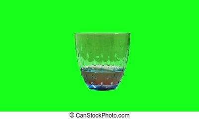 remplit, vert, verre, eau, écran